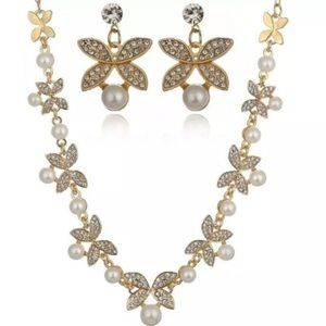 Rhinestone Faux Pearl Necklace & Earrings Set